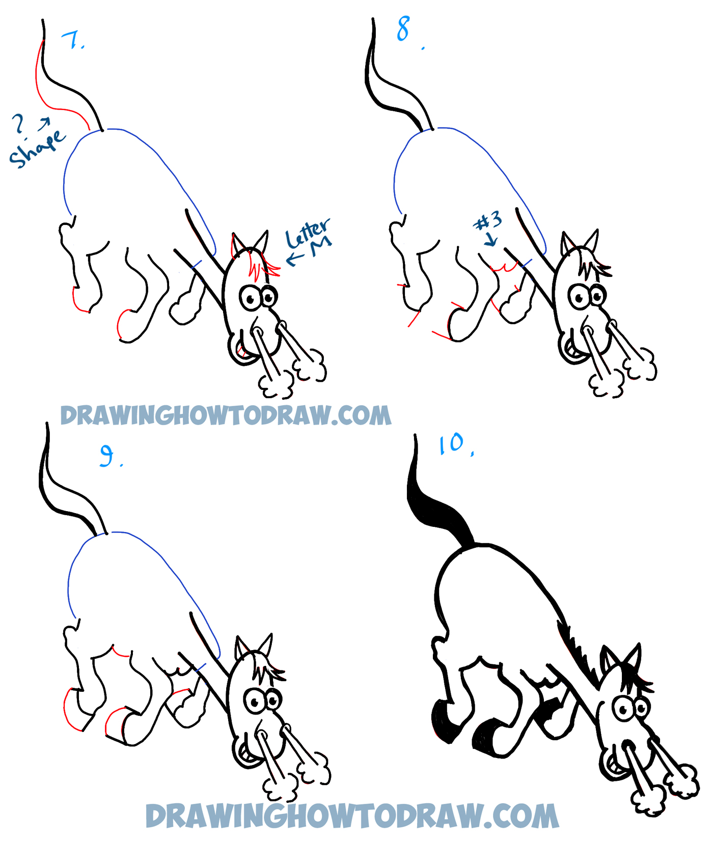 Learn How to Draw a Cartoon Horse Galloping / Charging - Simple Steps Drawing Lesson