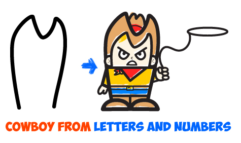 how to draw cartoon cowboy from letters and numbers easy tutorial for kids