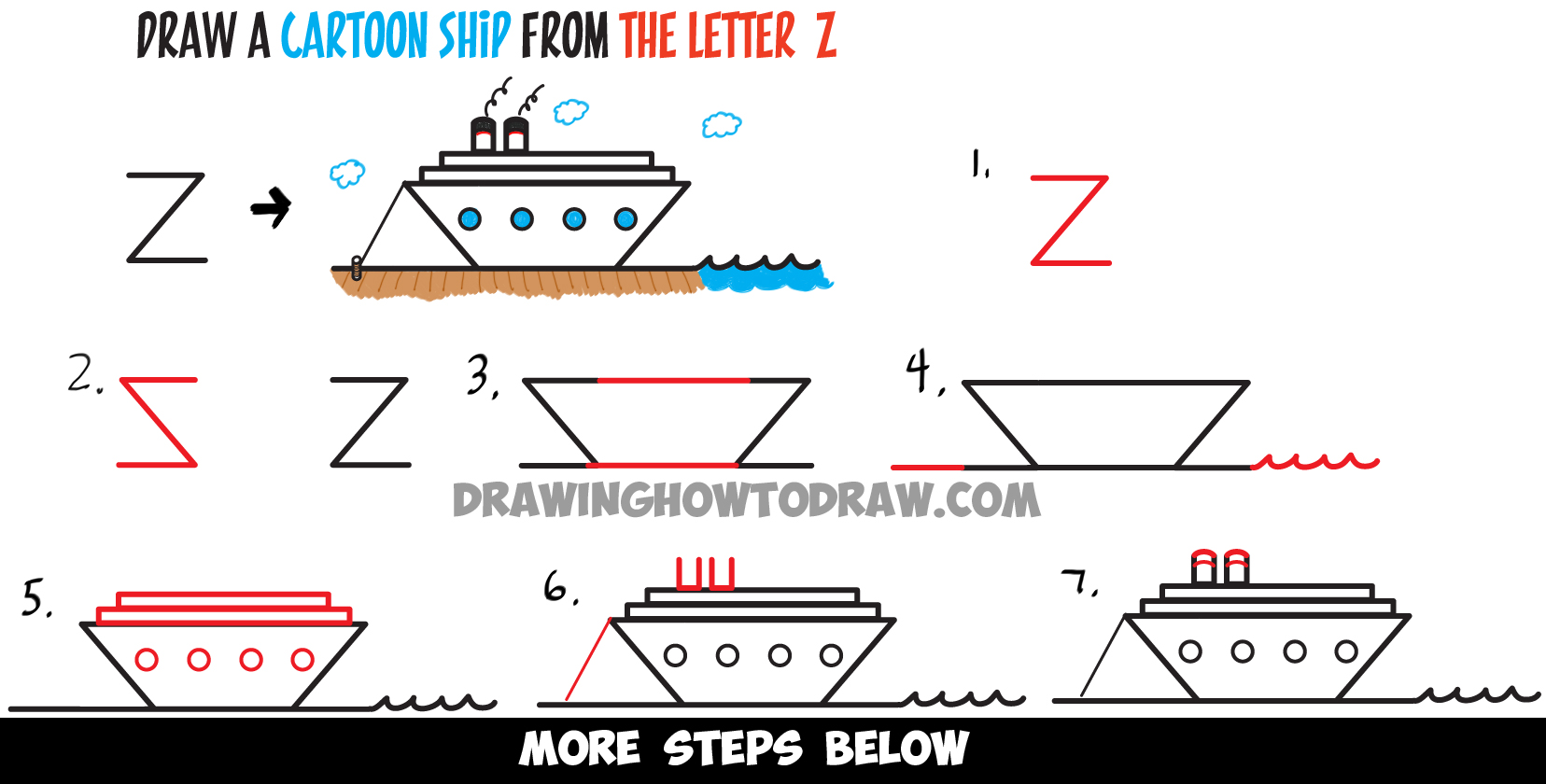 How to Draw a Cartoon Ship from the Letter z Shape - Easy Drawing Tutorial for Kids