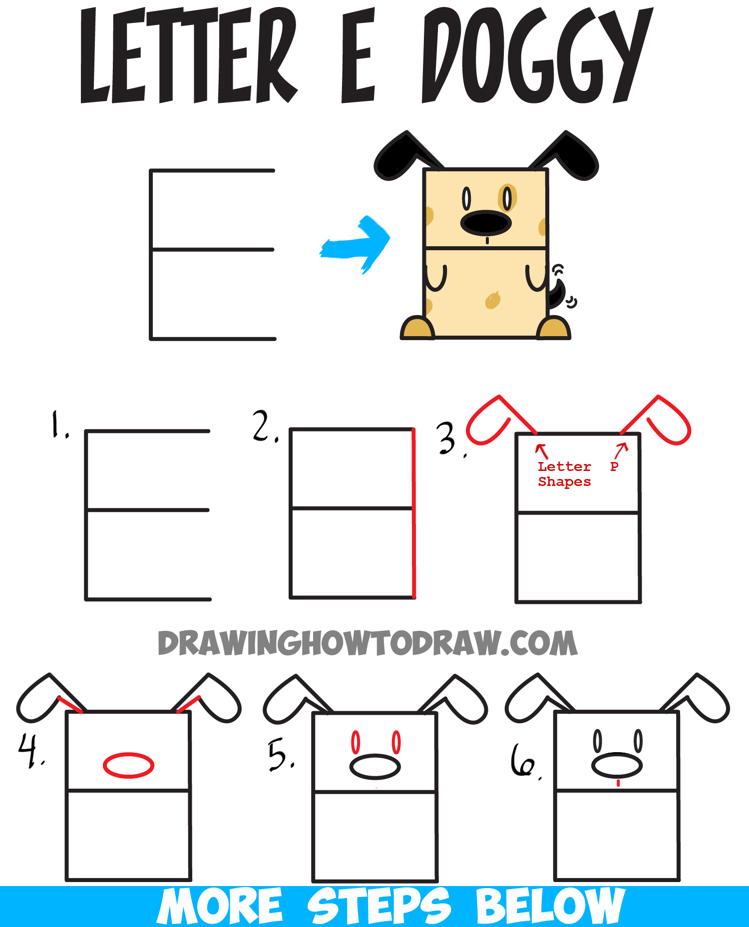 How to Draw a Cartoon Dog from Uppercase Letter E : Easy Steps Tutorial for Kids