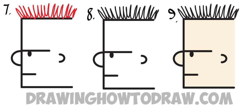 Learn How to Draw a Face from the Side from Uppercase Letter E : Simple Steps Drawing Lesson for Kids