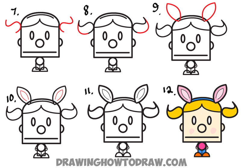 Learn How to Draw Cartoon Girl with Pig Tails and Bunny Ears from a Division Symbol - Easy Step by Step Drawing Tutorial for Kids
