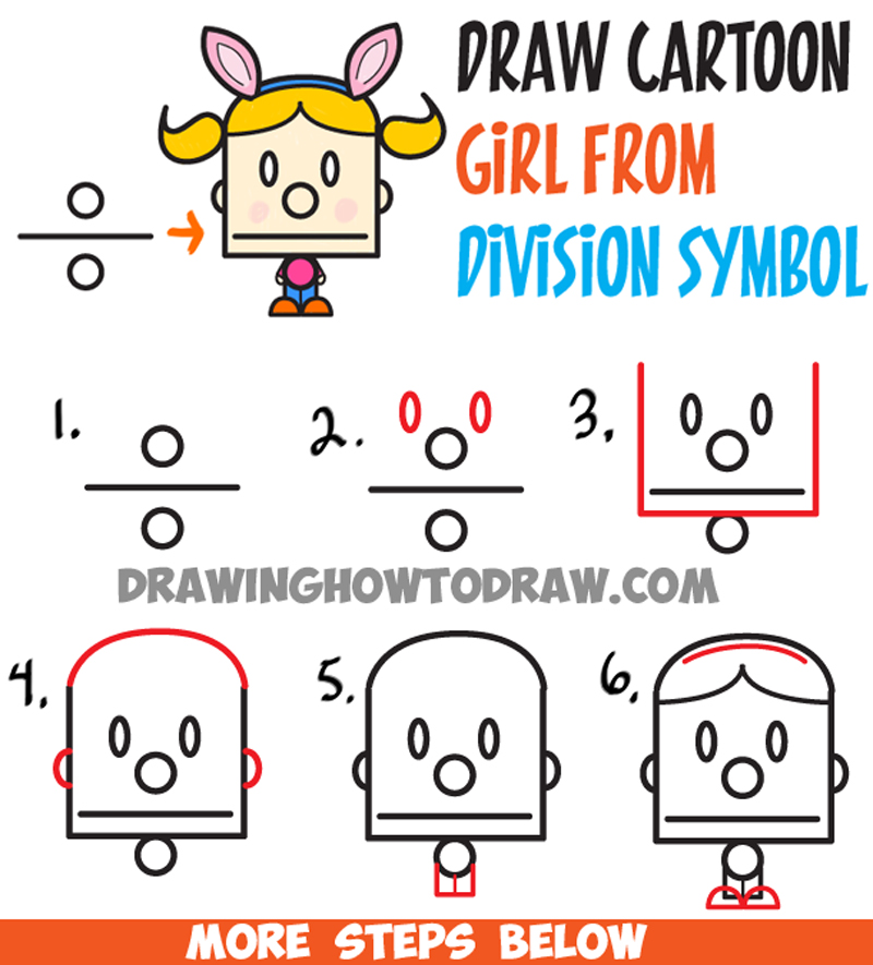 How to Draw Cartoon Girl with Pig Tails and Bunny Ears from Division Sign