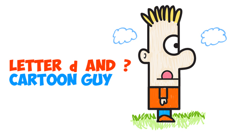 how to draw cartoon guy or boy from letters numbers and shapes