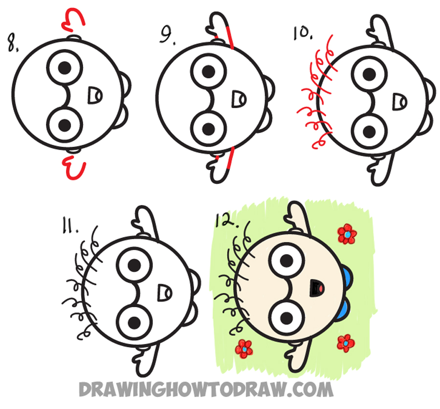 Learn How to Draw a Cartoon Person Waving Up Towards Someone Looking Down : Easy Step by Step Drawing Lesson