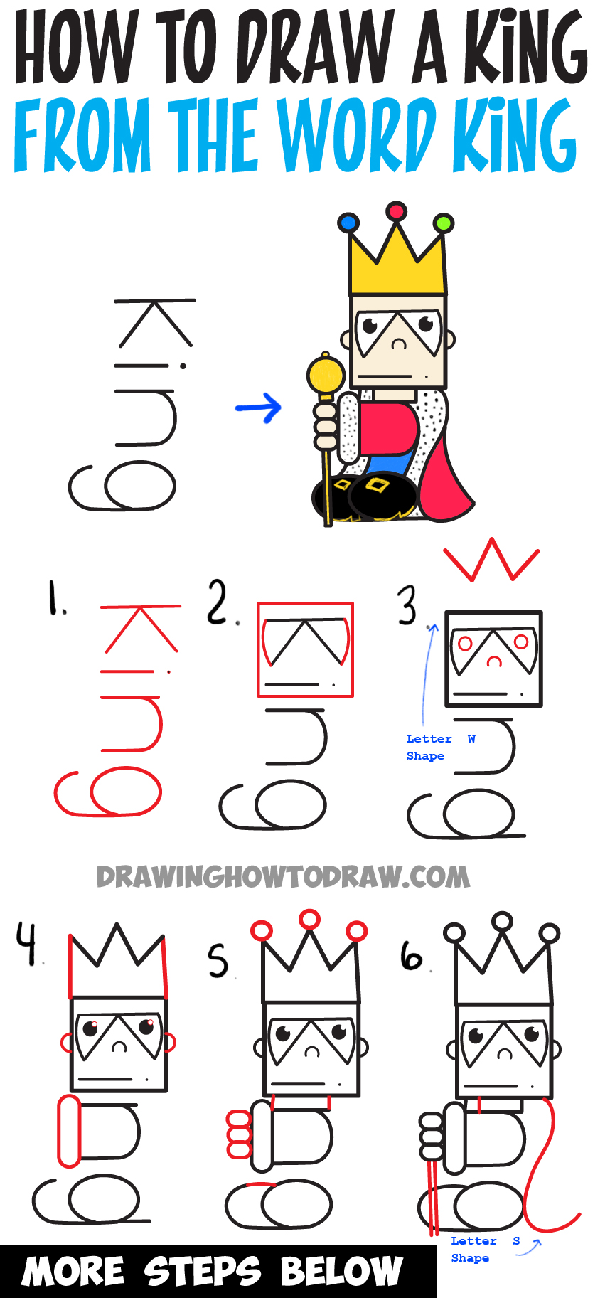 How to Draw Cartoon King from the Word : Easy Step by Step Word Toon for Kids