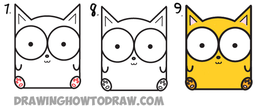Learn how to draw cartoon baby kitty cat or kitten from letters simple steps drawing lesson