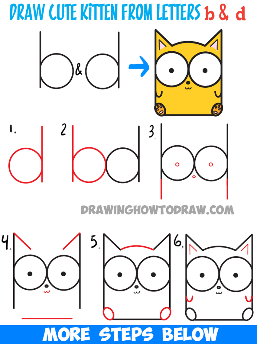 How to draw cartoon baby kitty cat or kitten from letters for Simple drawings step by step