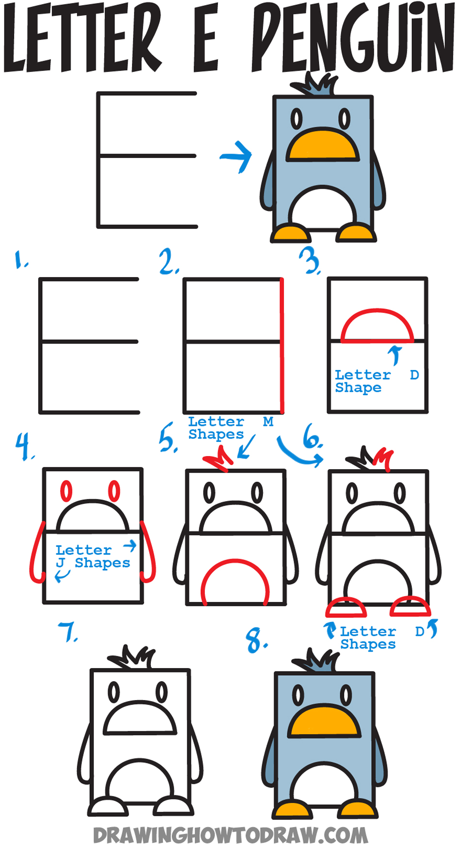 Huge guide to drawing cartoon characters from uppercase letter e how to draw a cartoon penguin from uppercase letter e easy steps tutorial for kids altavistaventures Image collections