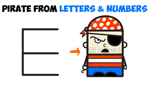 how to draw cartoon pirate from letters and numbers - easy for kids