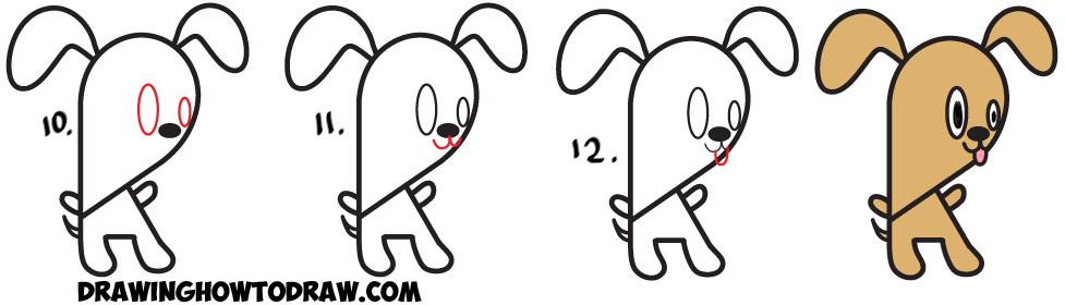 Learn How to Draw a Cartoon Puppy Doggy from Lowercase Letter k  : Easy Steps Drawing Tutorial for Kids