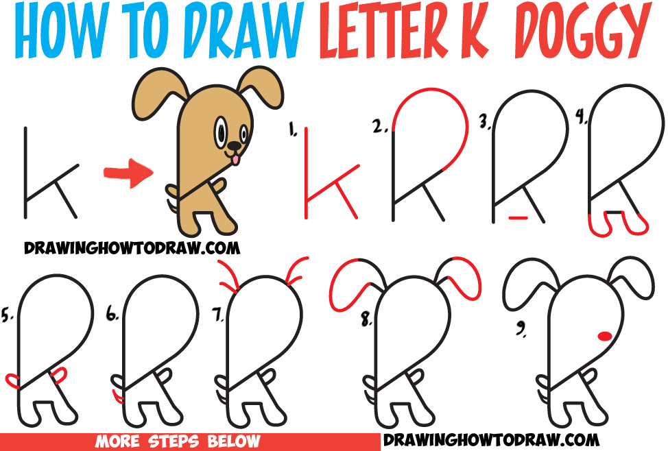 Learn How to Draw a Cartoon Puppy Doggy from Lowercase Letter k : Step by Step Drawing Lesson for Kids