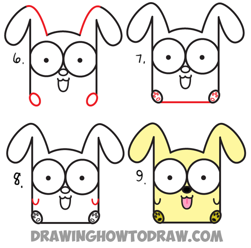 How to Draw Cartoon Baby Dog or Puppy from Letters Easy Step by
