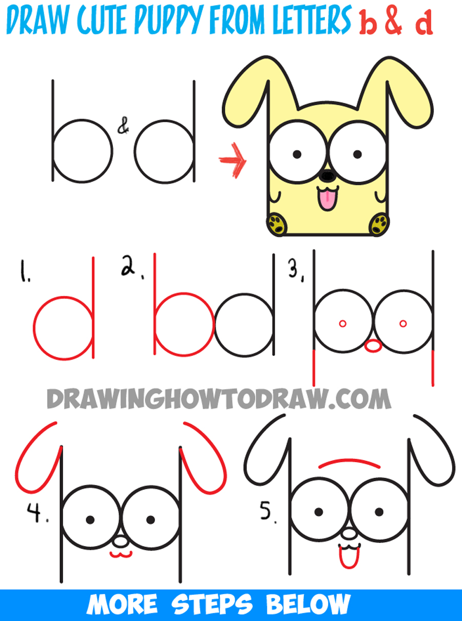 How to draw cartoon baby dog or puppy from letters easy for How to draw things step by step