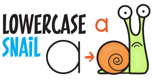 Learn How to Draw Cartoon Snail from Lowercase Letter a - Simple Steps Drawing Lesson for Kids