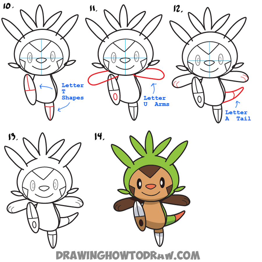 Learn How to Draw Chespin from Pokemon Simple Steps Drawing Lesson