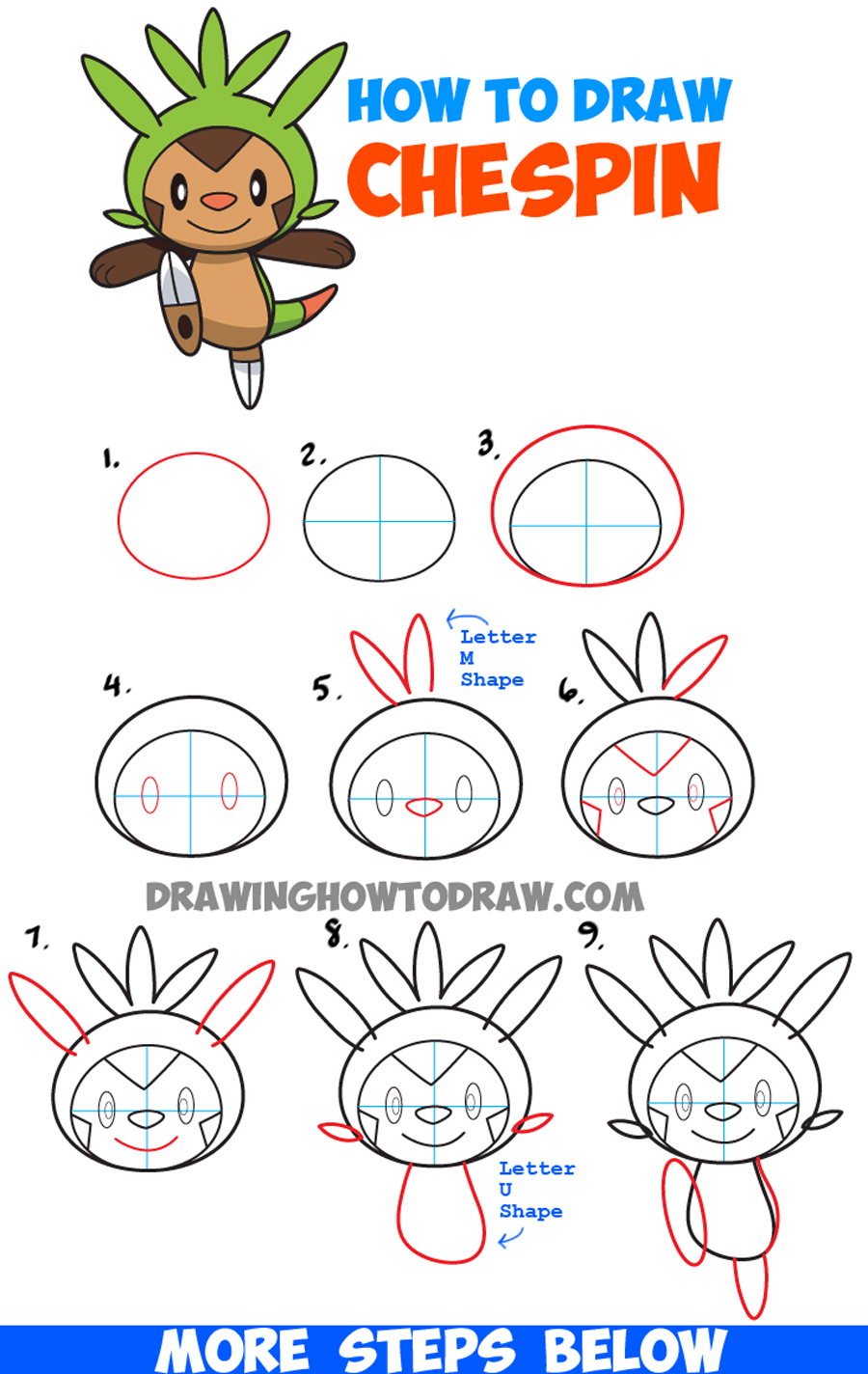 How to draw chespin from pokemon easy step by step drawing for How to make cartoon drawings step by step