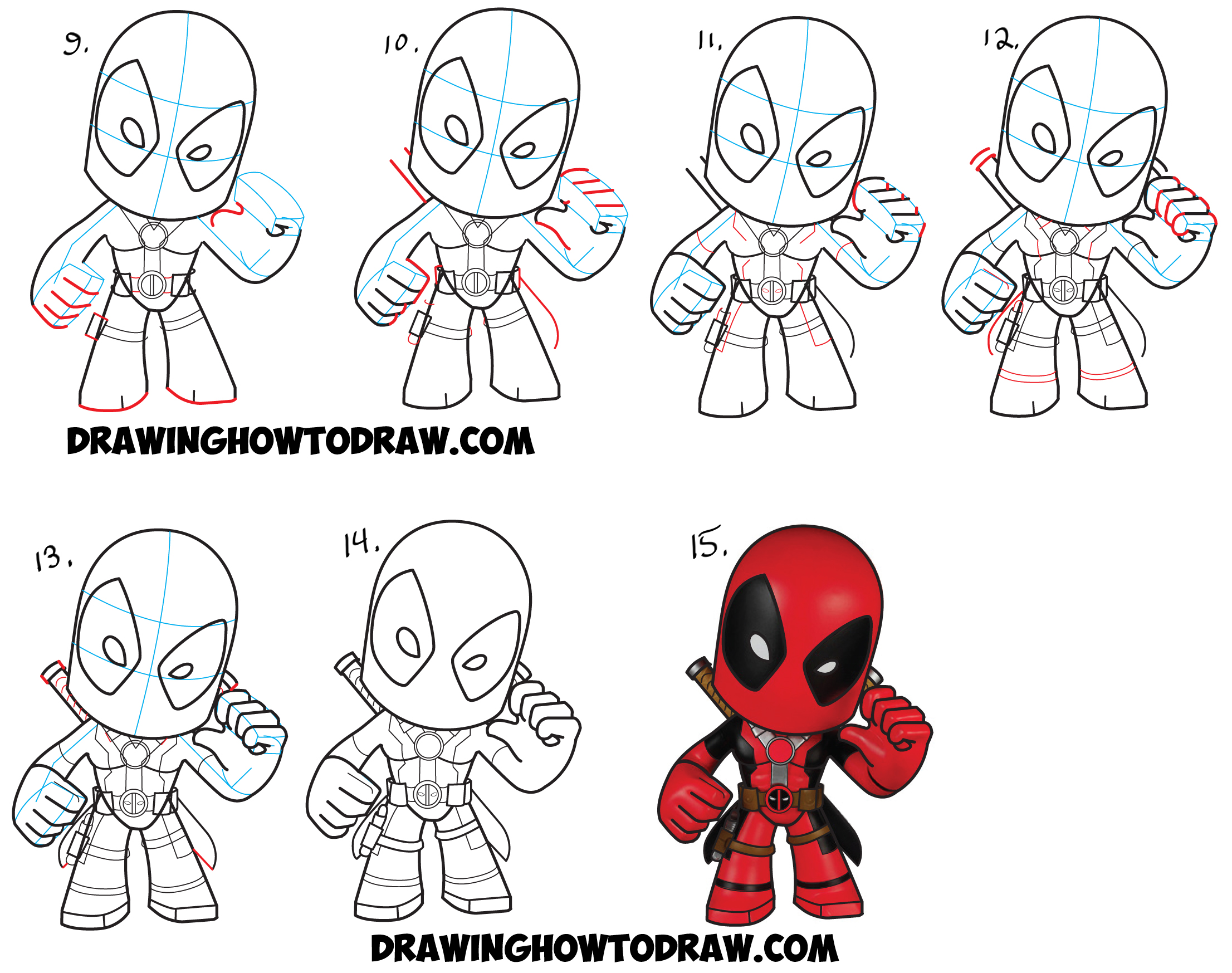 Learn How to Draw Chibi Deadpool Simple Steps Drawing Lesson