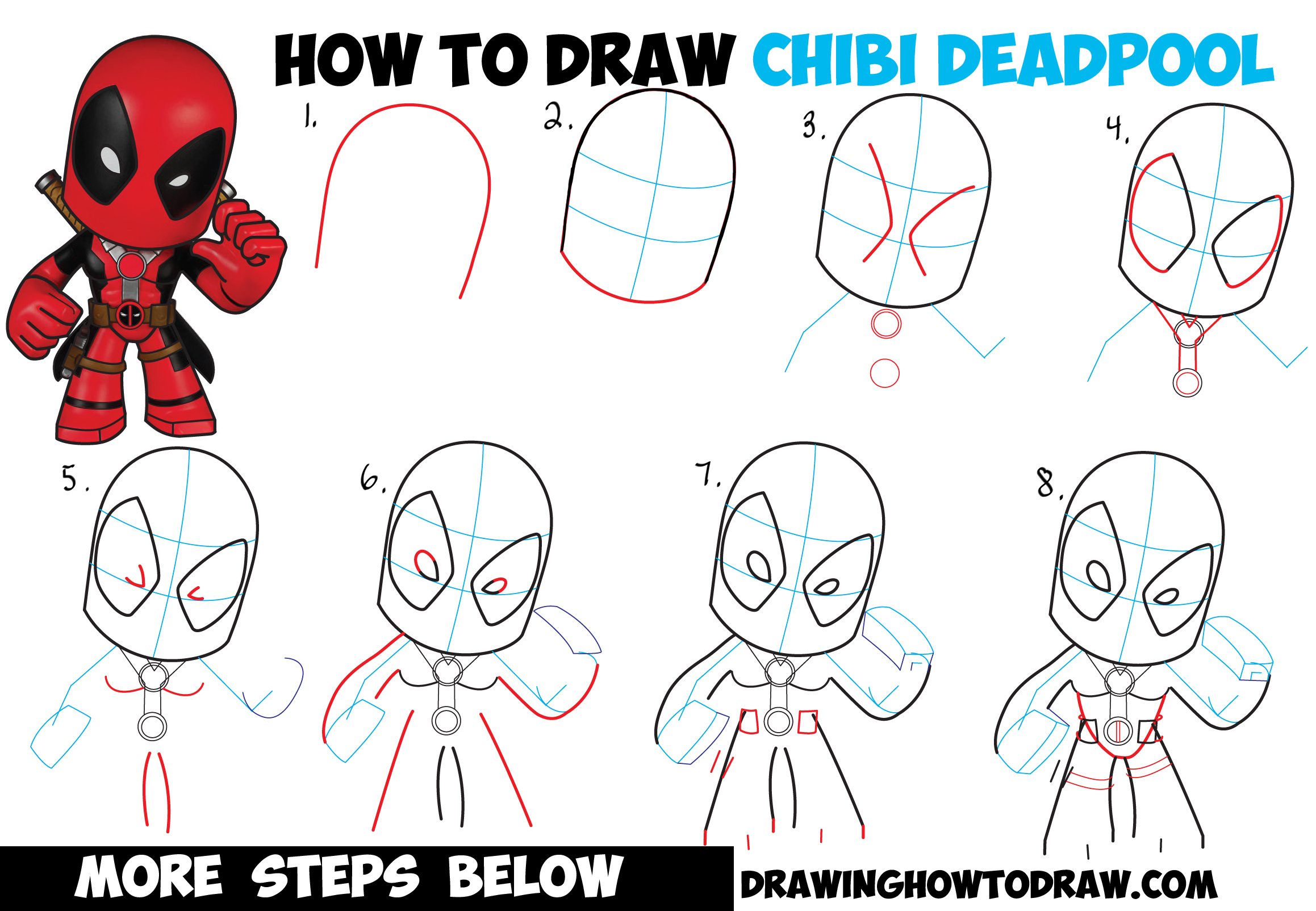 Line Art Step By Step : How to draw chibi deadpool easy step by drawing
