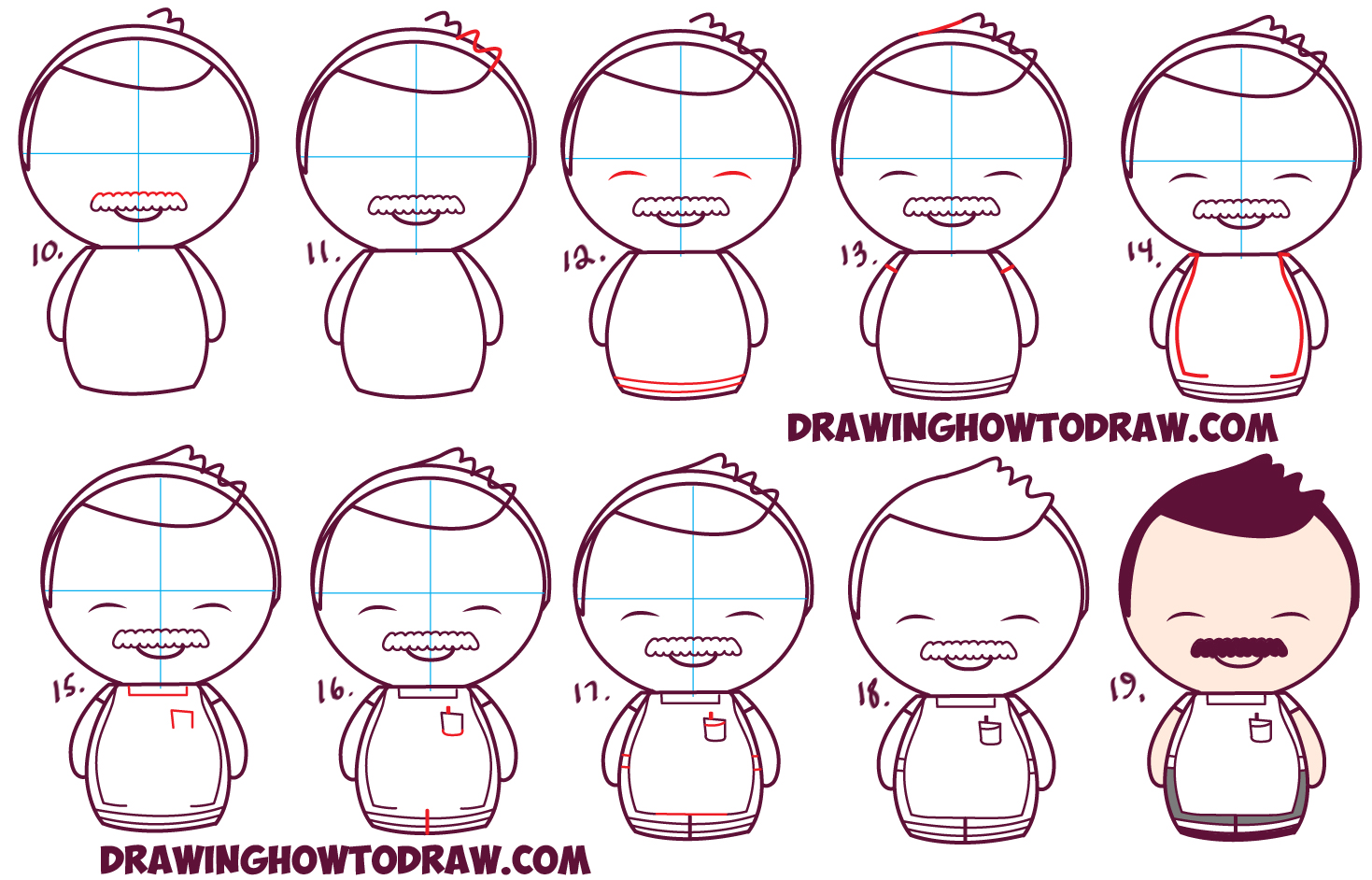 Learn How to Draw Kawaii Chibi Bob (Dad) from Bob's Burgers in Simple Step by Step Drawing Tutorial