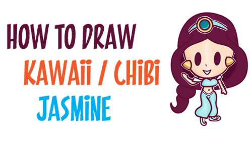 How to Draw Cute Baby Kawaii Chibi Jasmine from Disney's Aladdin in Easy Steps