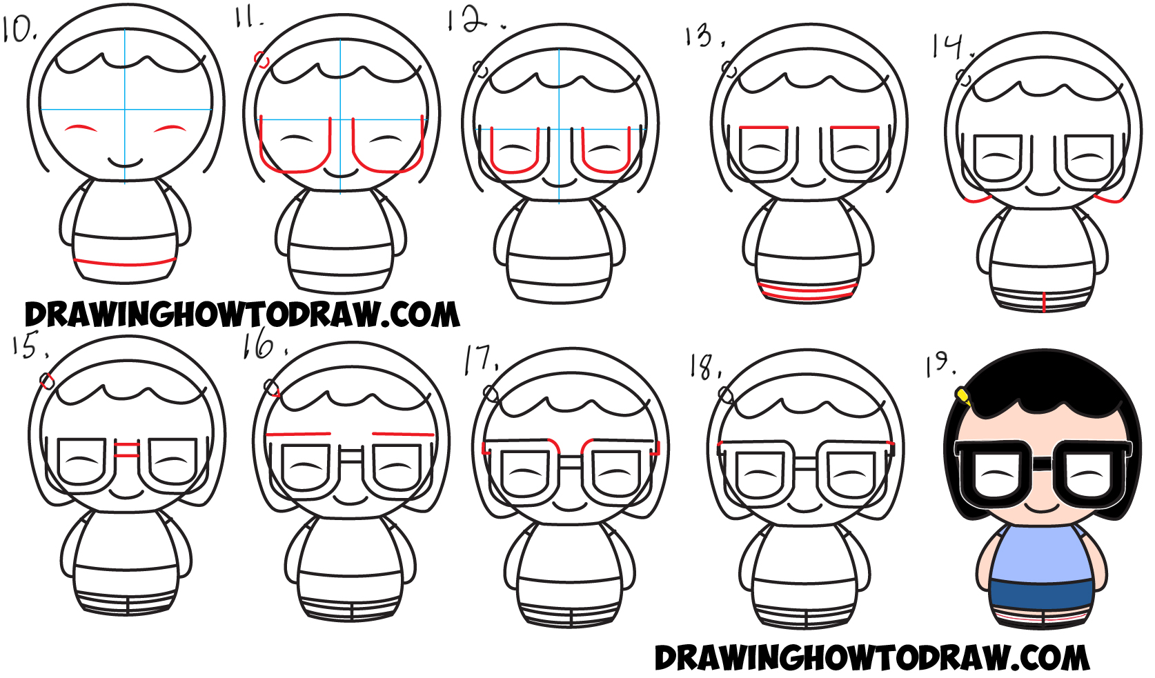 Learn How to Draw Chibi Kawaii Tina from Bob's Burgers in Simple Steps Drawing Lesson