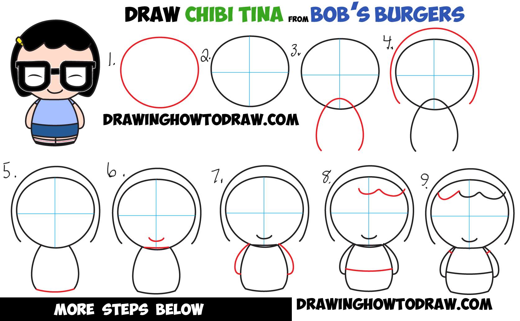 How to Draw Chibi Kawaii Tina from Bob's Burgers Easy Step by Step Drawing Tutorial