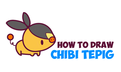 How to Draw Cute Kawaii Chibi TePig from Pokemon - Simple Drawing Tutorial