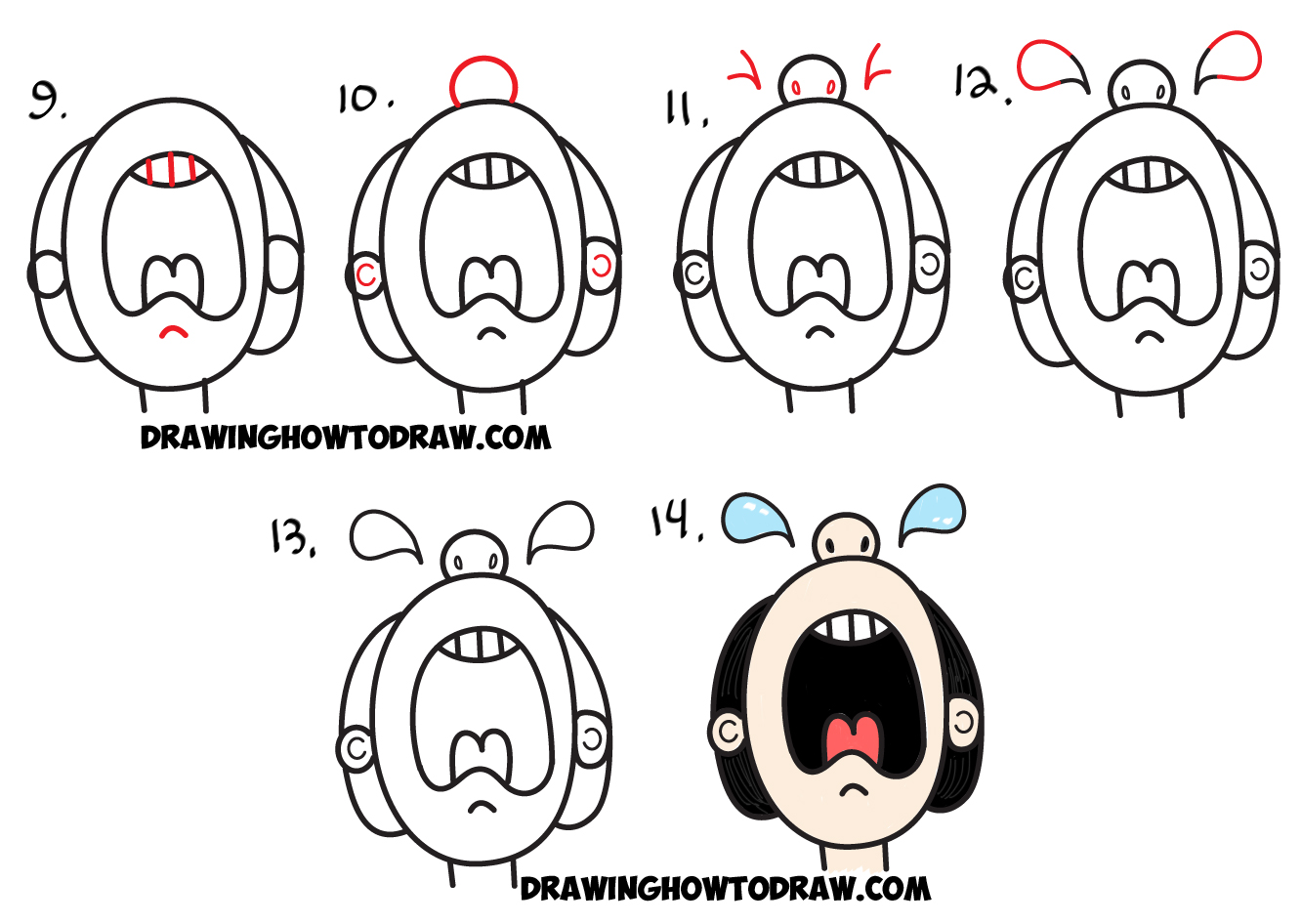 Learn How to Draw Crying Cartoon Character from the Word Cry : Word Toon in Simple Steps Drawing Lesson for Kids