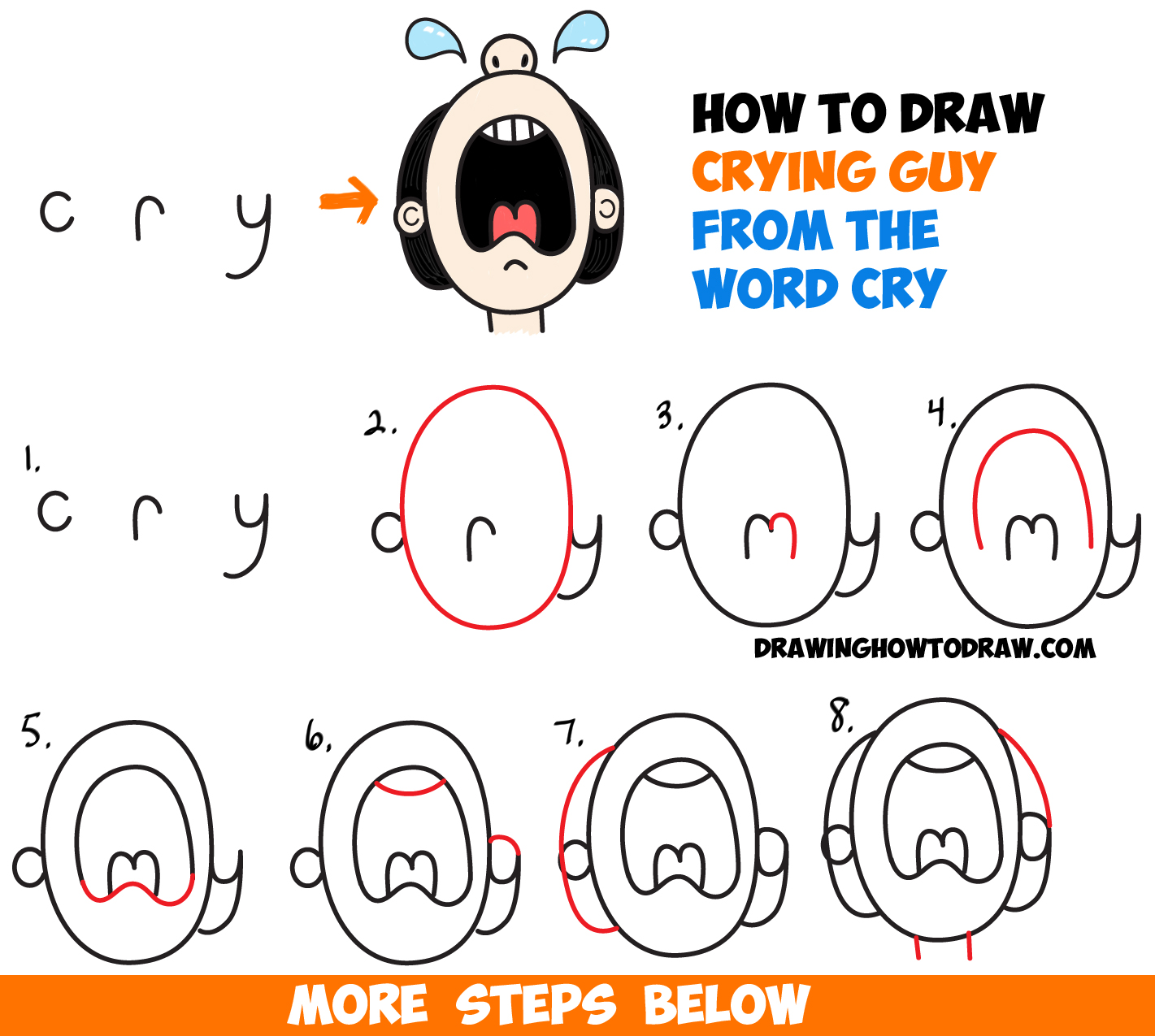 How to draw cartoon crying person from the word cry easy step by step drawing