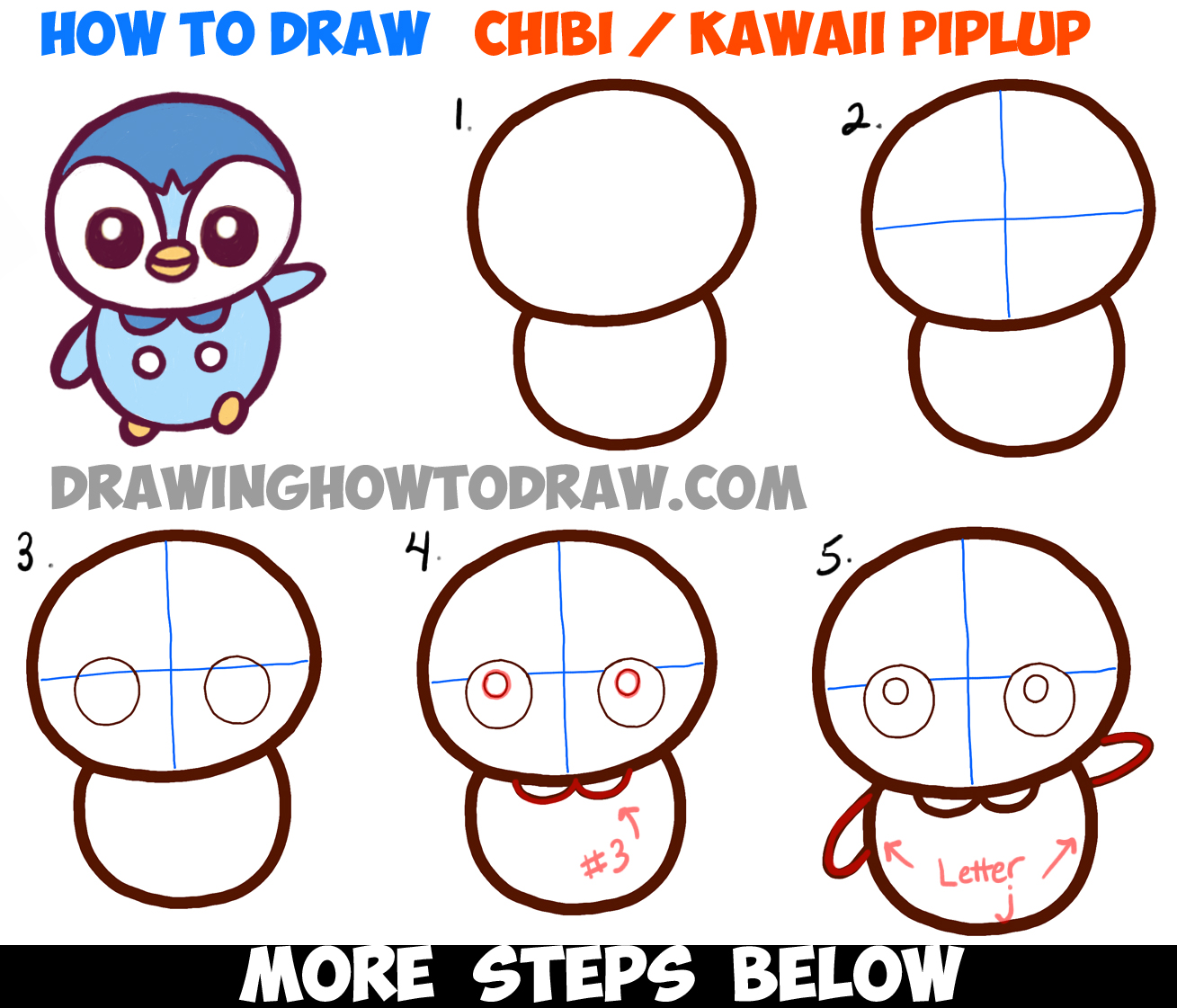 How to Draw Baby Chibi Kawaii Piplup from Pokemon Easy Step by Step Tutorial