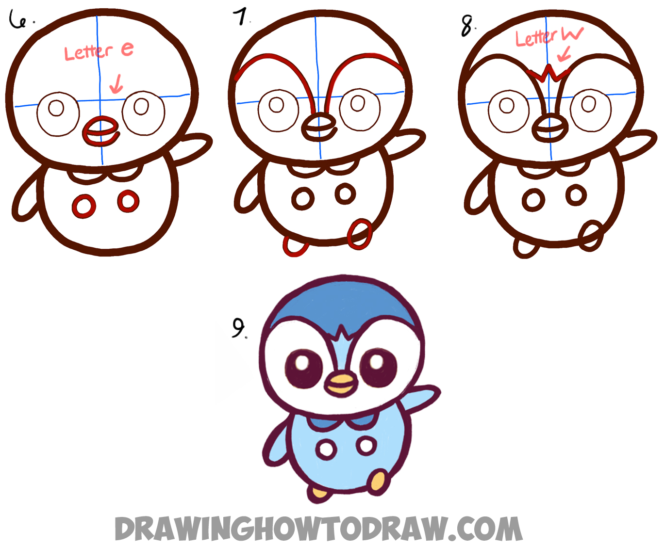 Learn How to Draw Baby Chibi Kawaii Piplup from Pokemon and Pokemon Go Simple Steps Drawing Lesson