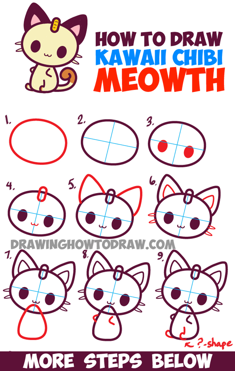 How to Draw Kawaii Chibi Meowth from Pokemon - Simple Drawing Tutorial