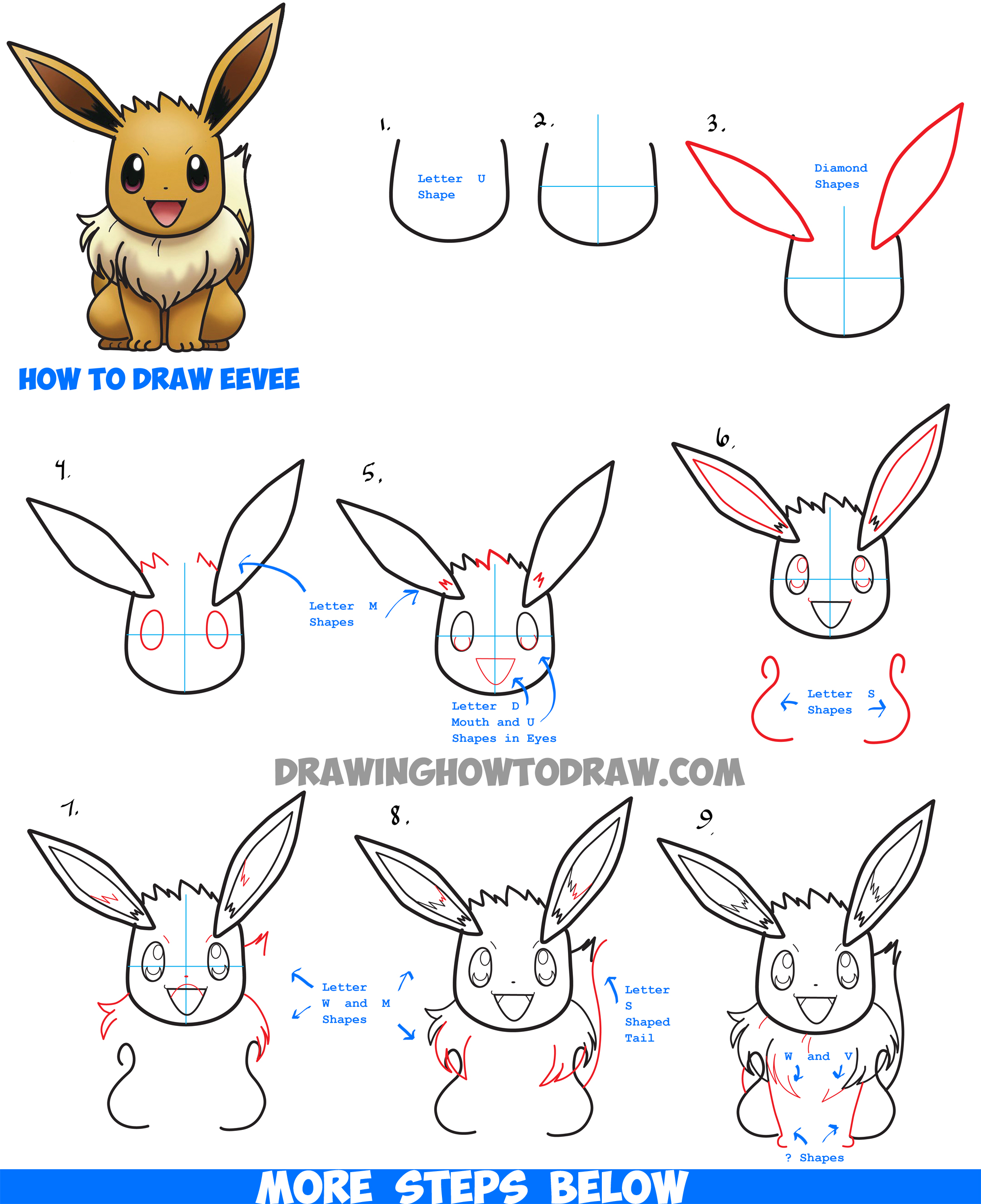 how to draw eevee from pokemon with easy step by step