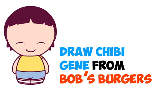 How to Draw Kawaii Chibi Gene from Bob's Burgers Simple Steps Drawing Lesson