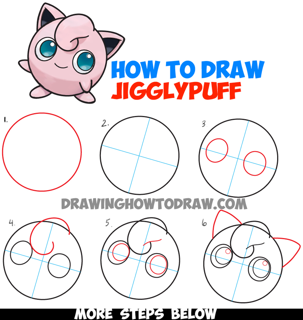 How to draw jigglypuff from pokemon easy step by step for Learn drawing online step by step