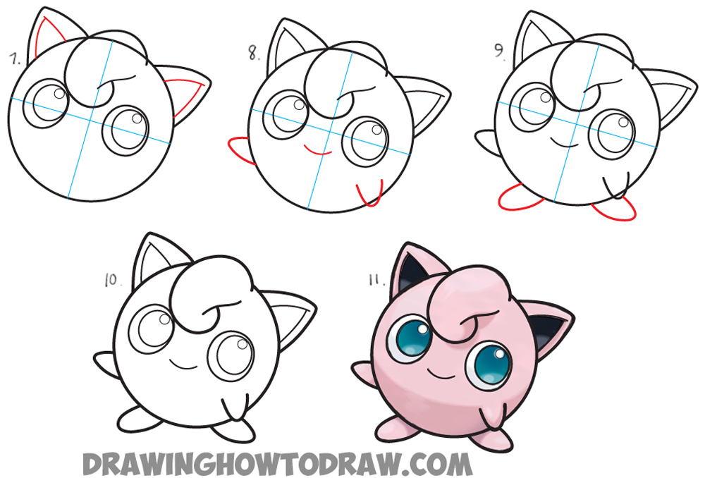 How to Draw Jigglypuff from Pokemon - Easy Step by Step ...