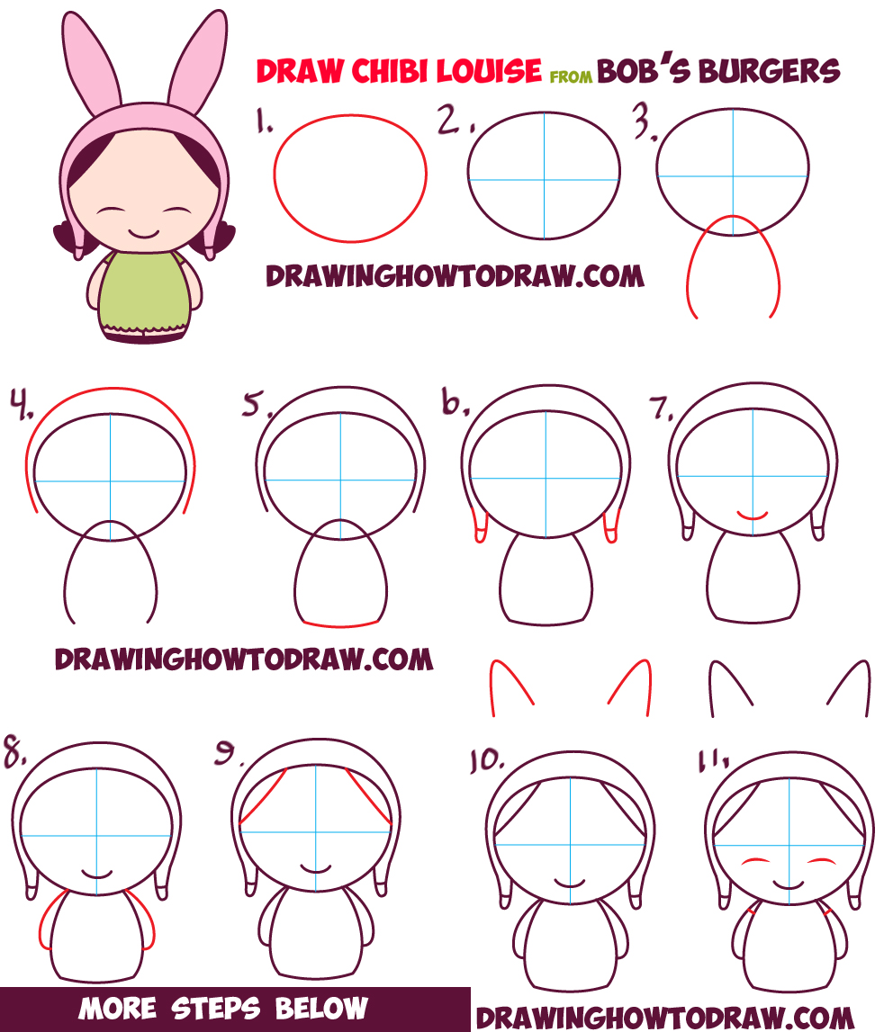how to draw kawaii chibi louise from bob's burgers easy step by step drawing tutorial