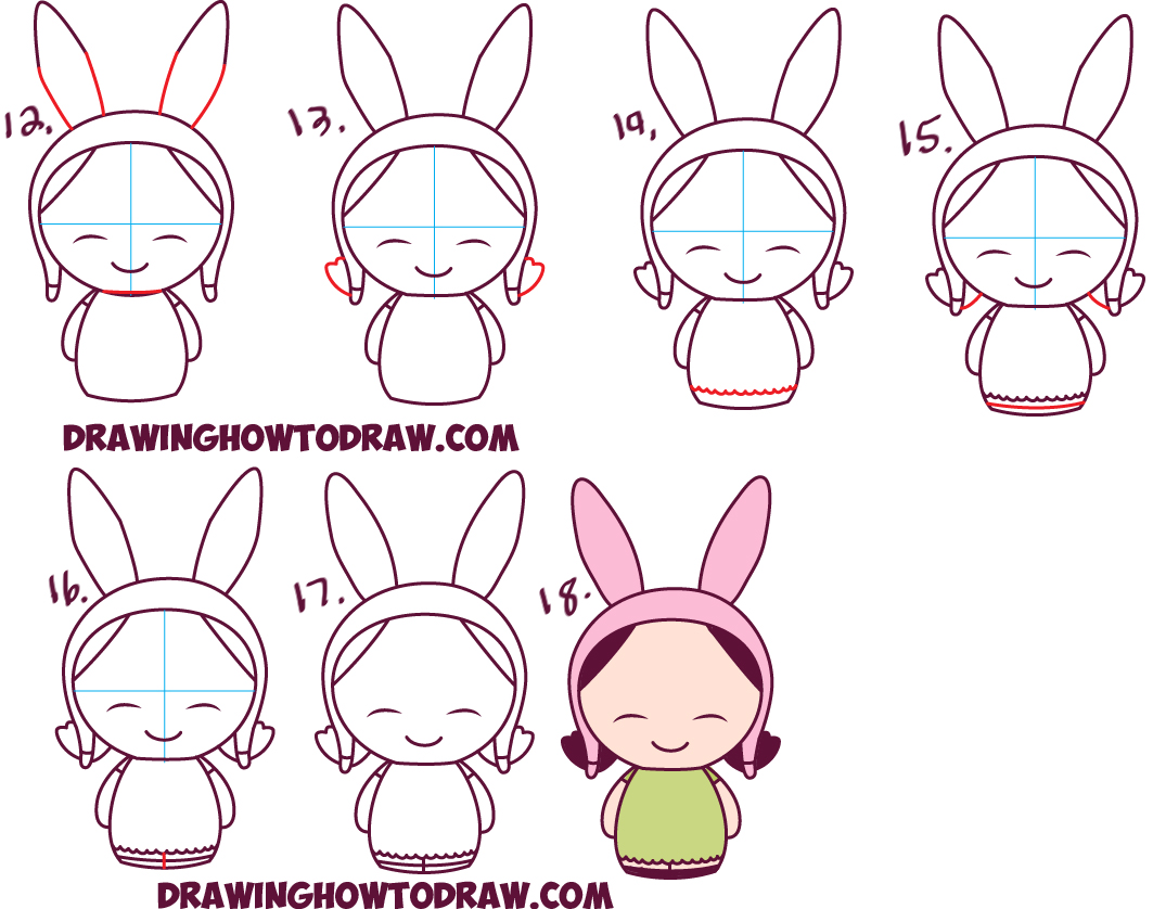 how to draw kawaii chibi louise from bob u0027s burgers in easy steps