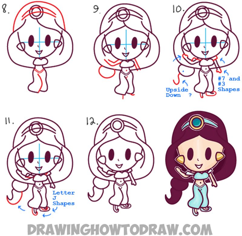 How to Draw Cute Baby Kawaii Chibi Jasmine from Disney's ...
