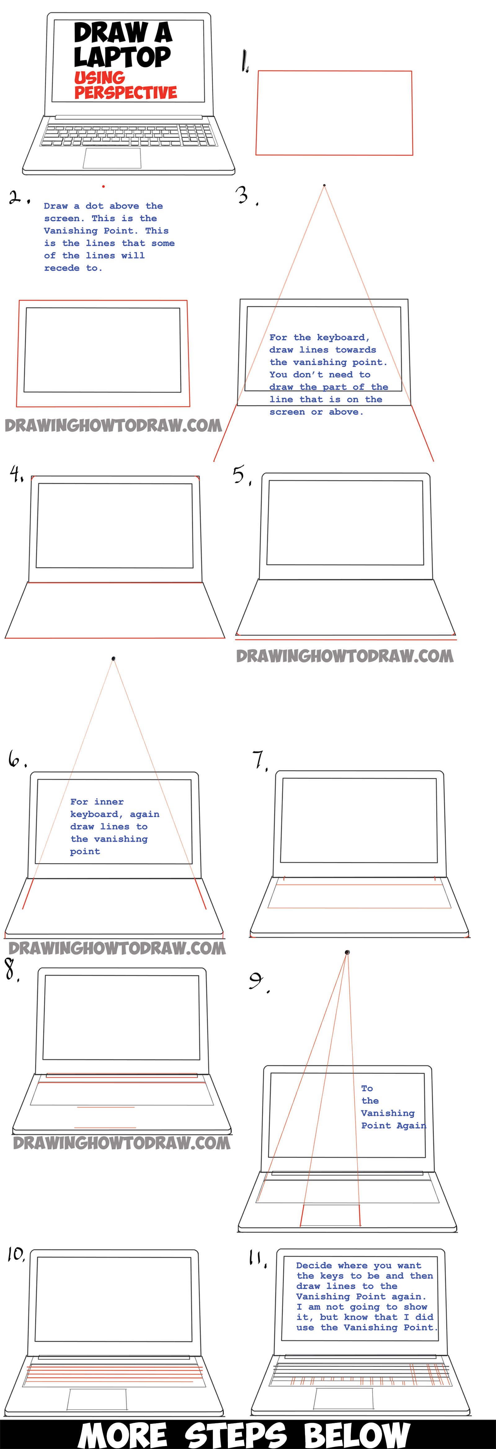 how to draw a computer set
