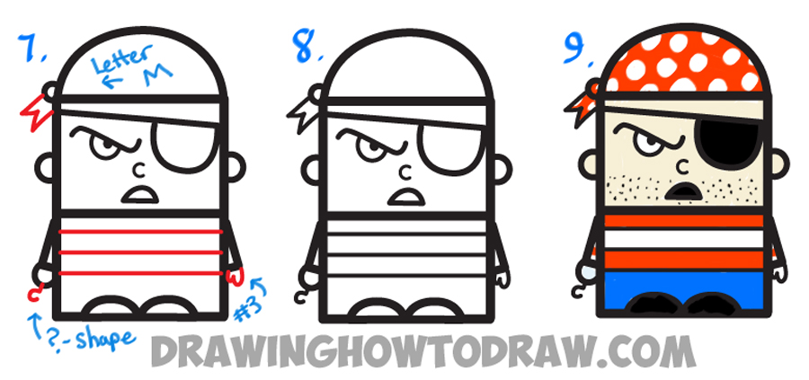 howtodraw letter e cartoon pirate for kids