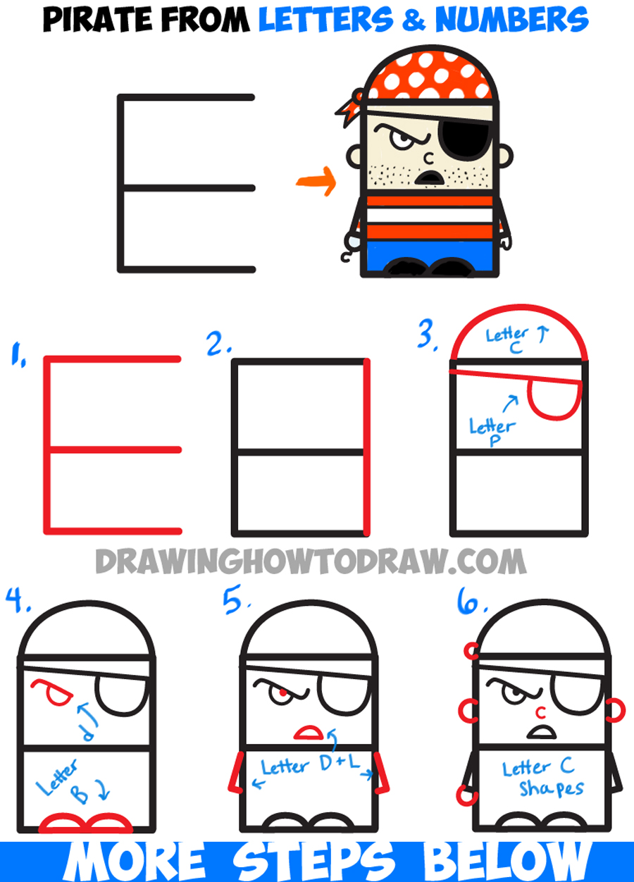 How to draw cartoon pirate from letters and numbers easy tutorial how to draw cartoon pirate from letters and numbers easy tutorial for kids altavistaventures Image collections
