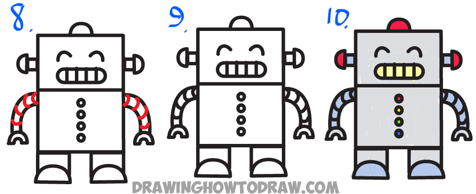 Huge guide to drawing cartoon characters from uppercase letter e letter how to draw a cartoon robot from uppercase letter e step by step drawing altavistaventures Image collections