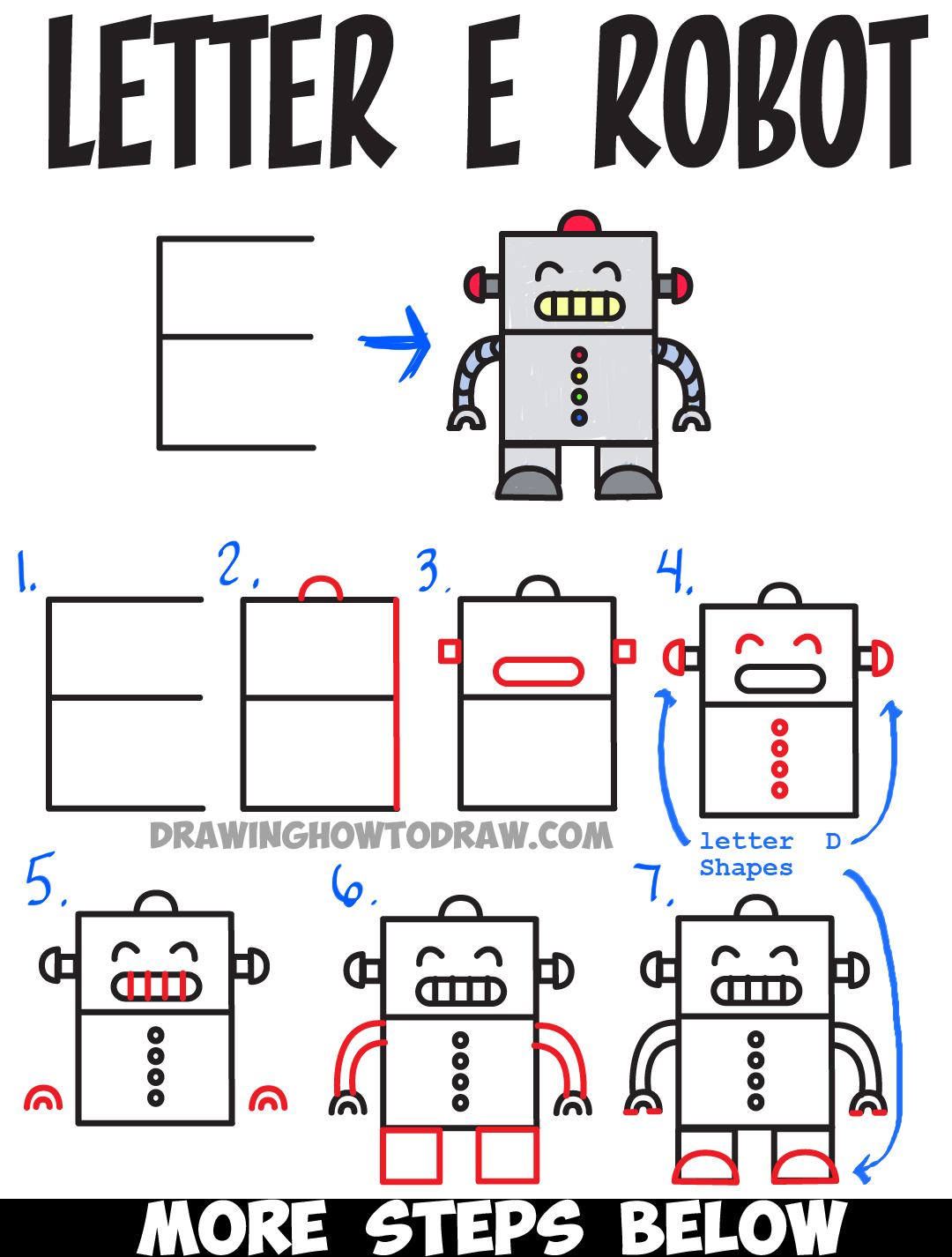 Huge guide to drawing cartoon characters from uppercase letter e learn how to draw a cartoon robot from uppercase letter e step by step drawing lesson for kids altavistaventures Image collections