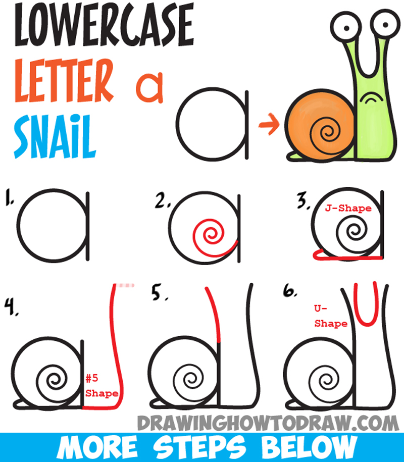 How to draw cartoon snail from lowercase letter a easy step by step drawing tutorial