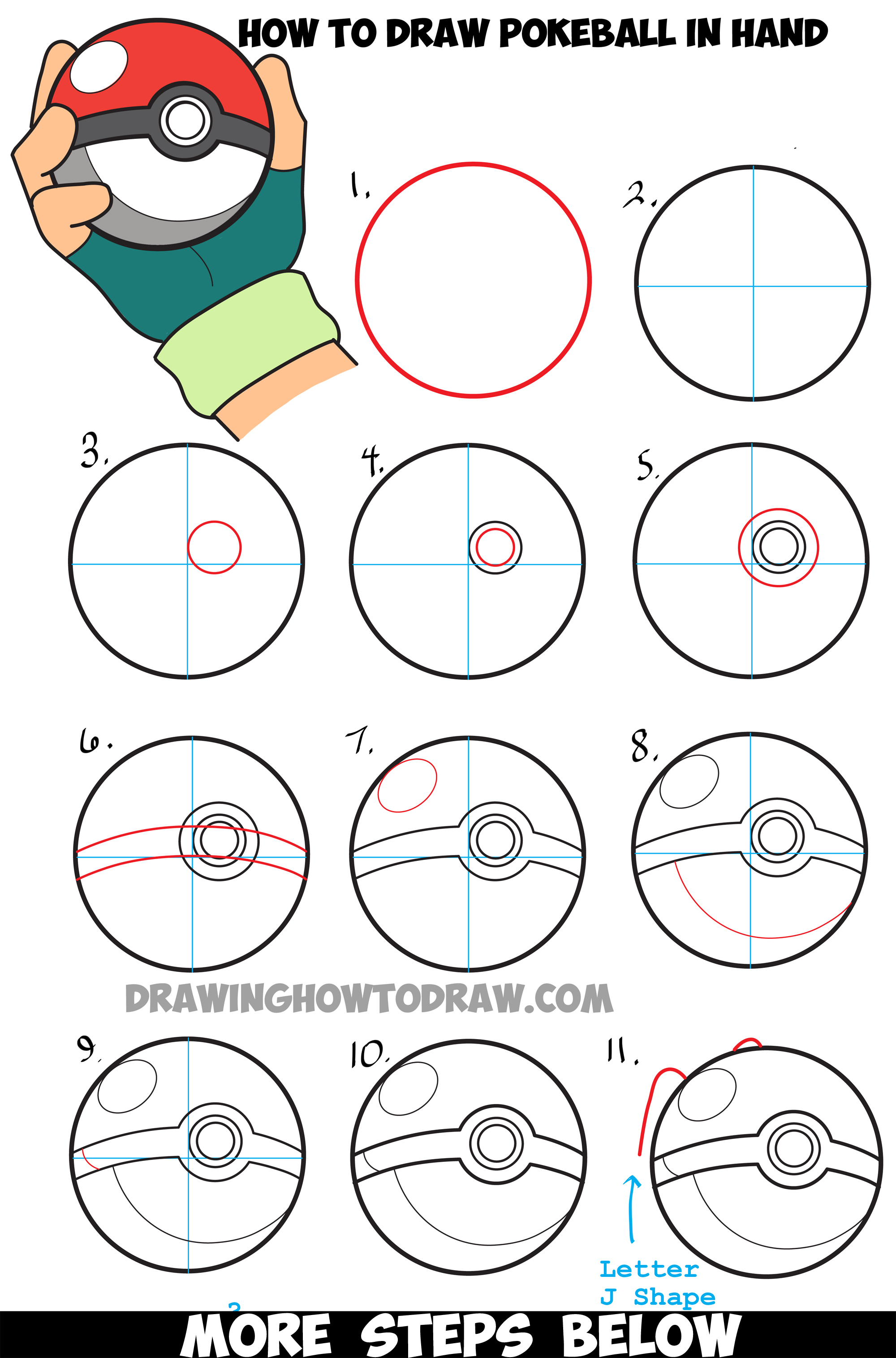 How to draw pokeball in ash 39 s hand step by step pokemon for How to draw things step by step