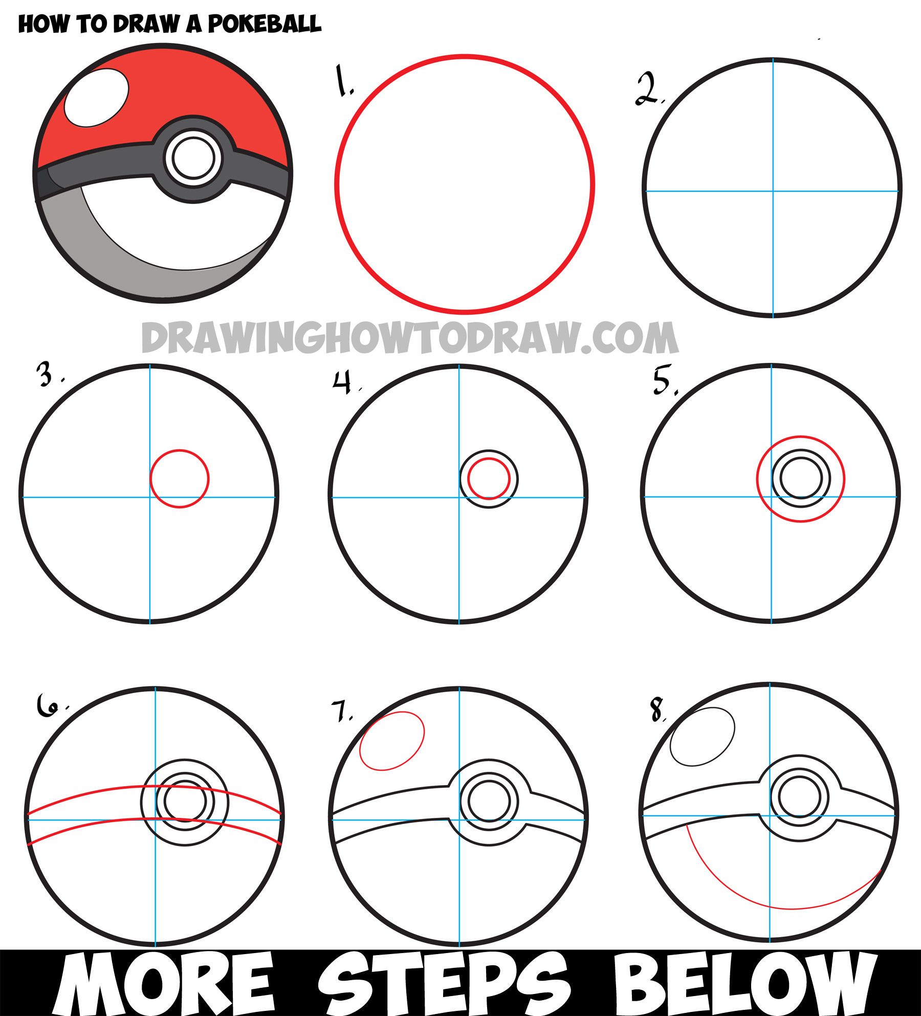 how to draw a pokeball from pokemon   easy step by step