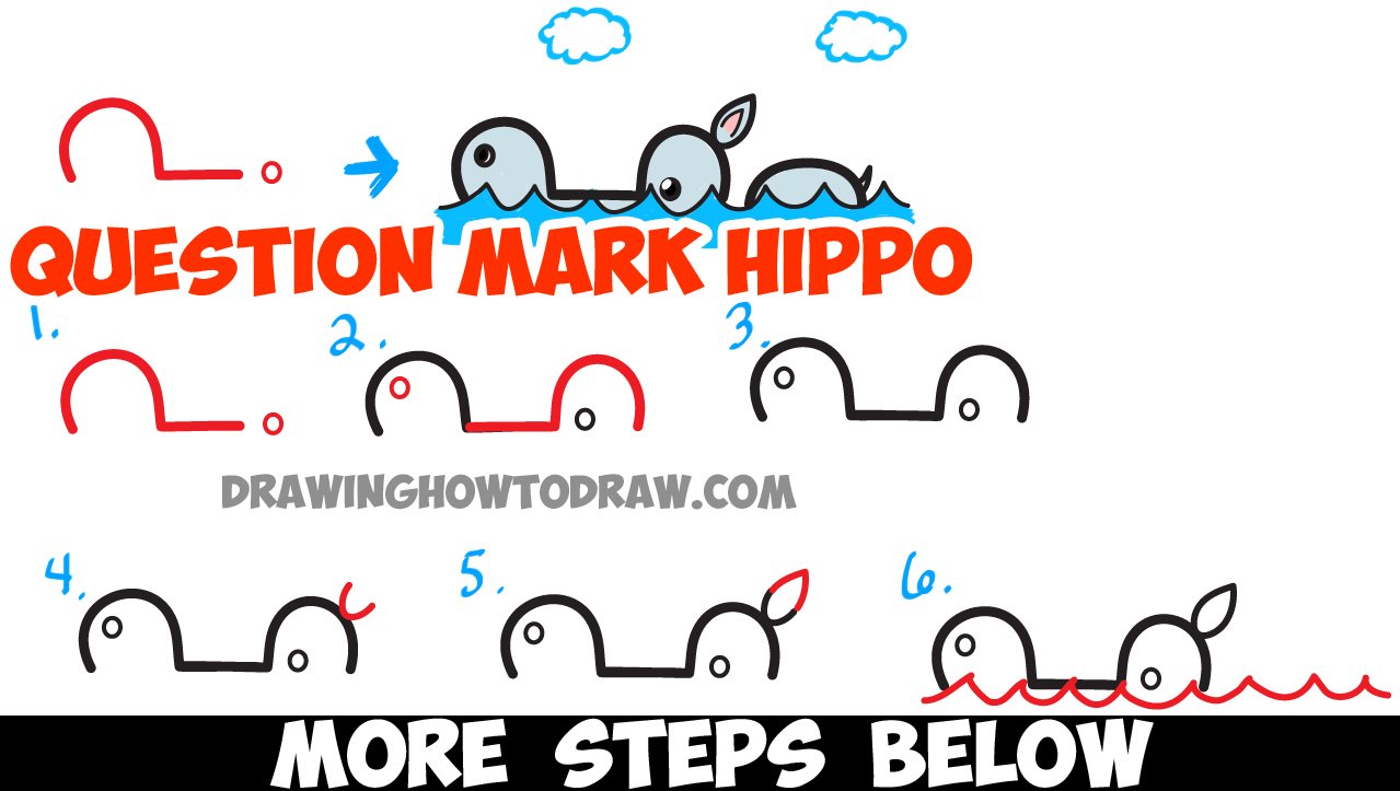 Scribble Drawing Question : How to draw cartoon swimming hippo from question mark