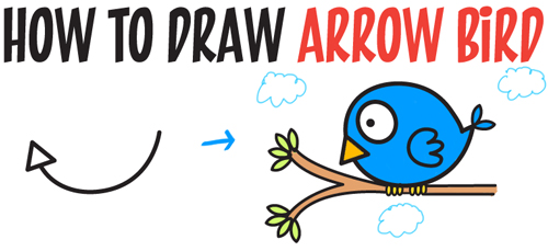 how to draw an arrow shape and turn it into a cartoon bird in easy steps